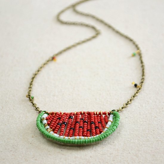 Marvelous ... Seed Bead Watermelon Necklace