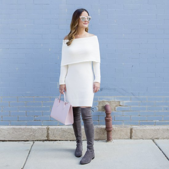 ivory off shoulder sweater dress | stylegawker