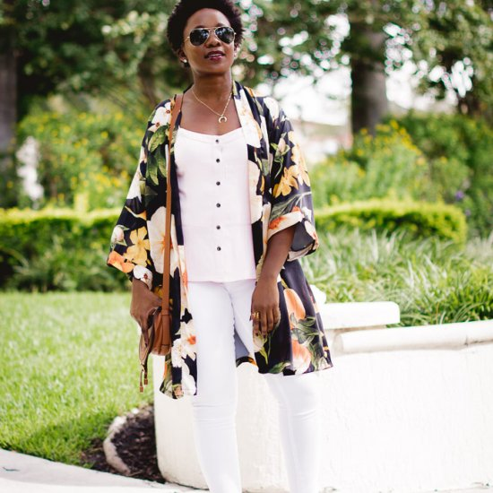 Kimono & White Jeans