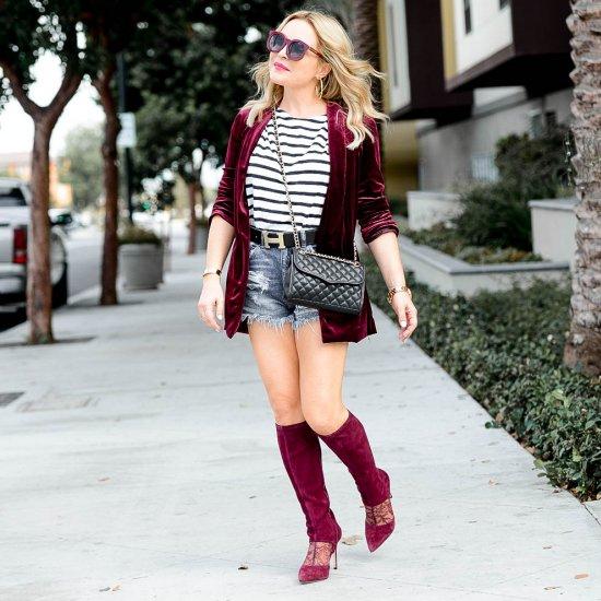Velvet, Shorts & Knee Highs