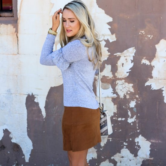 Ruffle Sleeve & Faux Suede Skirt